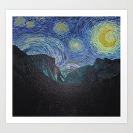Vincent Van Gogh's Starry Night Over Yosemite National Park Landscape Art Print