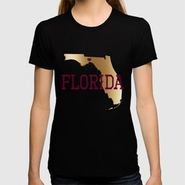Florida Gold and Garnet with State Capital Typography T-shirt
