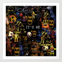 fnaf Art Prints featuring FNAF Cluster Design by artistathenawhite