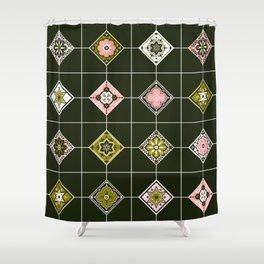 Talavera Mexican Tile – Blush & Sage Palette Shower Curtain