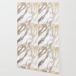 Elegant Creamy White Marble With Luscious Gold Veins Wallpaper