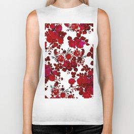 Botanical romantic red black elegant roses floral Biker Tank