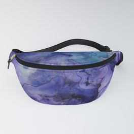 Abstract Watercolor, Ink Prints, Indigo, Blue, Purple Fanny Pack