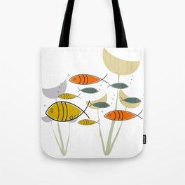 Mid Century Modern Fish, Marine Life Tote Bag