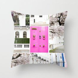 Spring in London Collection - Story Board Collage - 9 images styled together Throw Pillow
