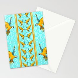 GOLD & BLUE TROPICAL MACAWS VERTICAL ART Stationery Cards