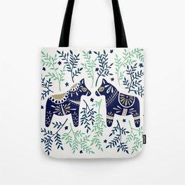 Swedish Dala Horse – Navy & Mint Palette Tote Bag