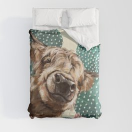 Sneaky Highland Cow and Cactus in yellow Comforters
