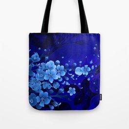 Cherry blossom, blue colors Tote Bag