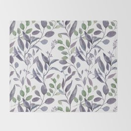 Purple and Green Watercolor Botanicals Throw Blanket