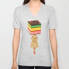 Cake Head Pin-Up: Italian Rainbow Cookie Unisex V-Neck