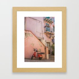 Red Scooter in Sicily Framed Art Print