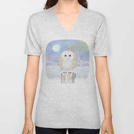 Snowy the Barn Owl Unisex V-Neck