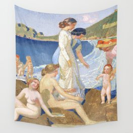 Bathers in Perros Guirec Wall Tapestry