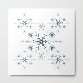 Blue flowers. Pattern. Metal Print