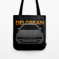 delorean Tote Bags featuring DeLorean DMC–12 by Vehicle