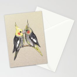 Two cute cockatiels Stationery Cards