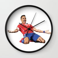 chile Wall Clocks featuring World Cup - Chile - Alexis Sanchez by DanielHonick