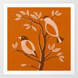 Burnt Orange Mid Century Birds On Branches Art Print