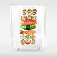 nori Shower Curtains featuring Sushi by Sam Luotonen
