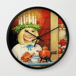 """""""Christmas Tea"""" by Jenny Nystrom Wall Clock"""