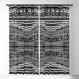 Linocut Tribal Pattern Blackout Curtain
