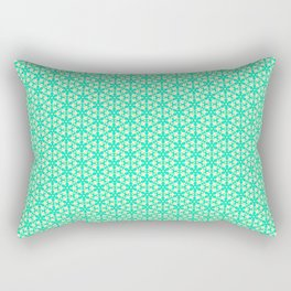 Radial Turquoise Bubble Blossom Snowflake Mint Green Butter Cream Yellow Country Winter Design Patte Rectangular Pillow