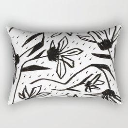 Black and White Echinacea Wildflower Drawing Rectangular Pillow