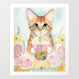 Bubble Tea Kitty Cat Art Print