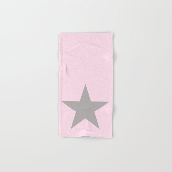 Grey star on pink background Hand & Bath Towel
