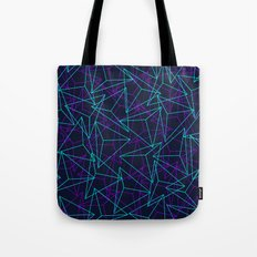 Abstract Geometric 3D Triangle Pattern in  turquoise/ purple  Tote Bag