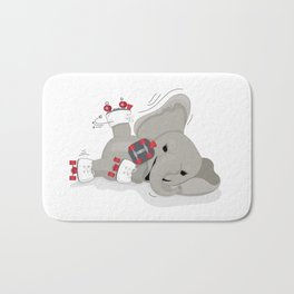 Elephant on skates Bath Mat