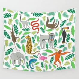 Animals in the Jungle Wall Tapestry