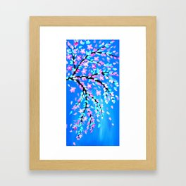 Pink Cherry Blossom and Blue phone case Framed Art Print