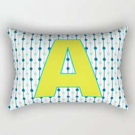 Letter A Monogram Blue, Green and Yellow with Pattern Rectangular Pillow