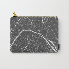 Paris France Minimal Street Map - Grey on White Carry-All Pouch