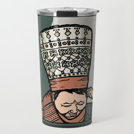 Central Asian Woman Thinking (in hat) Travel Mug