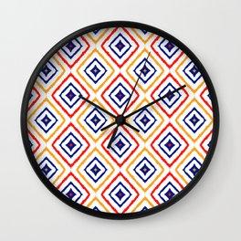Modern Diamond Shapes Doodles tribal Ikat Design Wall Clock