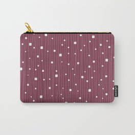 Squares and Vertical Stripes - Red Plum and White - Hanging Carry-All Pouch