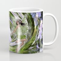 pixies Mugs featuring Green Flower fairy by Just Kidding