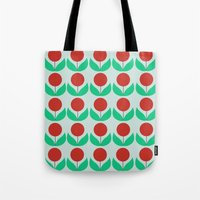 scandinavian Tote Bags featuring Scandinavian flowers by kongkongdigital