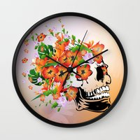 sugar skull Wall Clocks featuring Sugar skull by nicky2342
