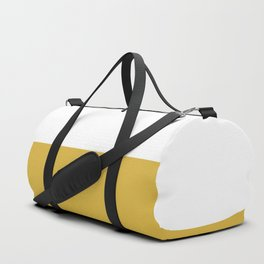 Mustard Yellow and White Minimalist Color Block Solid Half and Half Duffle Bag