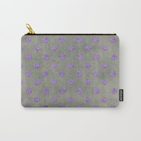 Purple Glitter Dots on Grunge Gray Carry-All Pouch