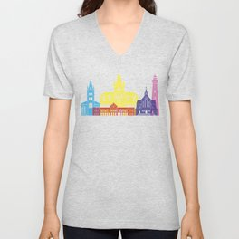Georgetown skyline pop Unisex V-Neck