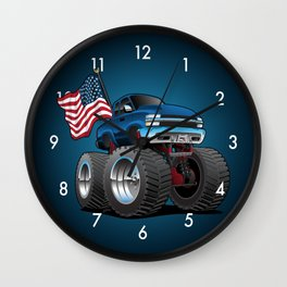Monster Pickup Truck with USA Flag Cartoon Wall Clock