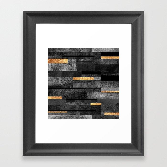 Urban Black & Gold Gerahmter Kunstdruck