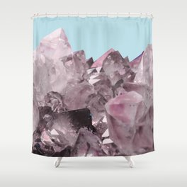 Pink Crystals on Light Blue Shower Curtain