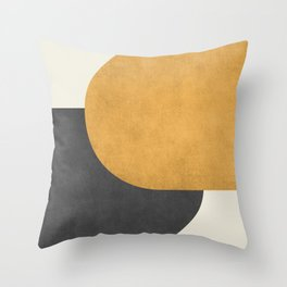 Halfmoon Colorblock - Gold Charcoal Throw Pillow