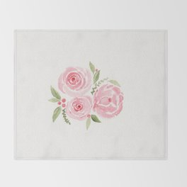 Christmas Rose-watercolor Throw Blanket